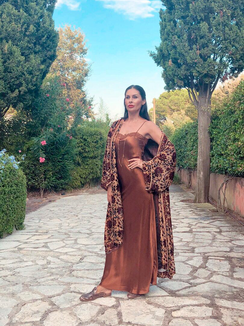 Maxidress aus Seide zu Samt Kimono aus Saint Tropez